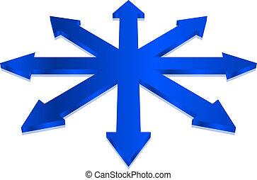 błękitny, wektor, strzały, ilustracja
