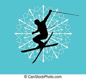 błękitny, wektor, sztuka, tło, narciarz