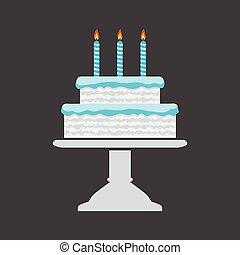 błękitny, wektor, urodziny, stać, ciastko, ikona