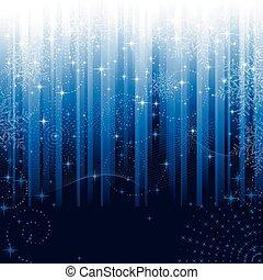 błękitny, wielki, płatki śniegu, świąteczny, próbka, themes., albo, tło., gwiazdy, pasiasty, boże narodzenie, zima