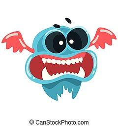 błękitny, zabawny, potwór, fantastyczny, barwny, toothy, litera, ilustracja, wektor, rysunek, stworzenie