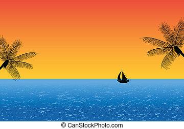 błękitny, zachód słońca ocean