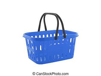 błękitny, zakupy, odizolowany, tło, kosz, biały