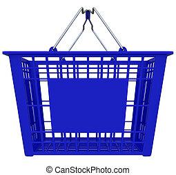 błękitny, zakupy, przestrzeń, -, kosz, kopia
