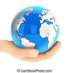 błękitny, ziemia, 3d, dzierżawa ręka