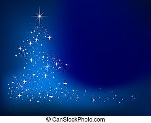 błękitny, zima, abstrakcyjny, drzewo, tło, gwiazdy, boże narodzenie
