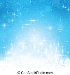błękitny, zima, tło, światła, gwiazdy, boże narodzenie