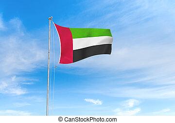 błękitny, zjednoczony, na, niebo, arab, bandera, emiraty, tło