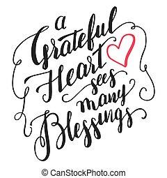 błogosławieństwa, kaligrafia, serce, wdzięczny, widzi, dużo