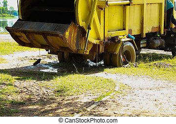 błoto, wózek, odpadki, wetknięty