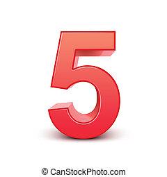 błyszczący, 5, liczba, czerwony, 3d