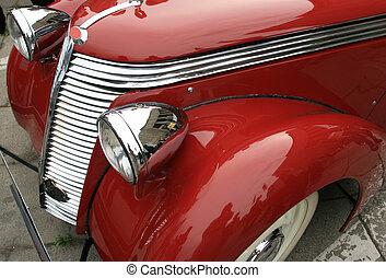 błyszczący, klasyk, automobile., rocznik wina, wóz., luksus, limousine., czerwony, historia