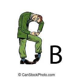 b, sylwetka, handlowy zaludniają, alfabet, bee., litera