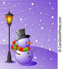 bałwan, wieczorny, stoi, śnieżny, lampa, pod