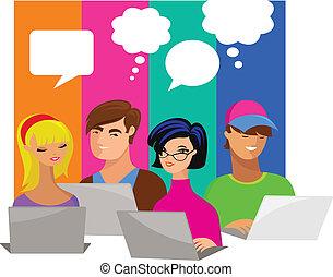 bańki, komputery, mowa, młodzież