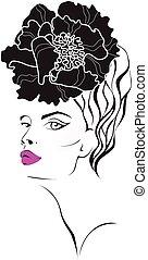 babski, twarz, kwiat, hair.