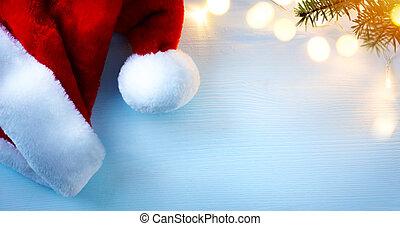 background;, lekki, kapelusze, drzewo, powitanie, święty, sztuka, kartka na boże narodzenie
