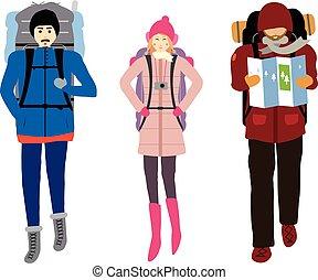 backgrpund, odizolowany, ilustracja, backpacker, wektor, biały