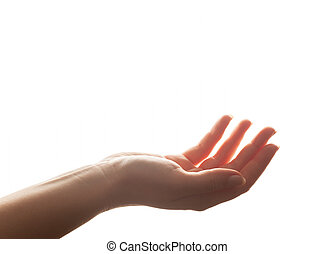 backlight, odizolowany, ręka, giving., dzierżawa, biały, silny, gest