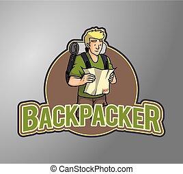 backpacker, ilustracja, chłopiec
