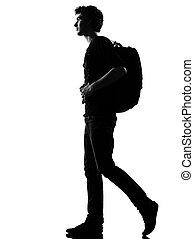 backpacker, pieszy, sylwetka, młody mężczyzna
