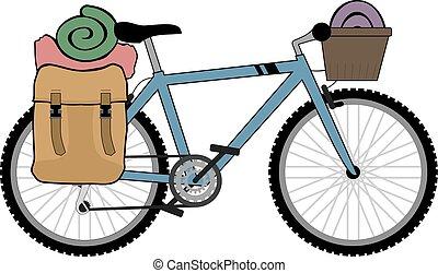 backpacker, rower, ilustracja