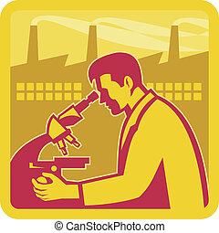 badacz, gmach, naukowiec, fabryka, retro