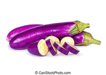 bakłażan, purpurowy, odizolowany, długi, (solanum, oberżyna, biały, albo, melongena)