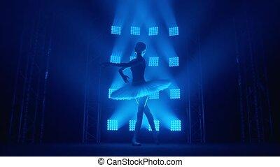 balerina, biały, promienie, błękitny, dziewczyna, ruch, ty, pointe, wiry, sylwetka, dookoła, tutu, powolny, dym, balet, classroom., łania, trening, light., tancerz