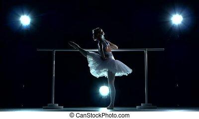 balerina, klasa, trening, tutu, barre, biały