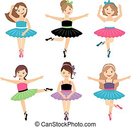 balerina, mały, komplet, dziewczyny