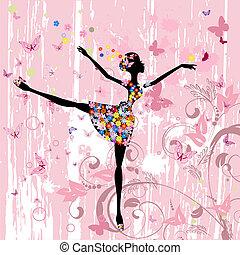 balerina, motyle, kwiaty, grunge, dziewczyna
