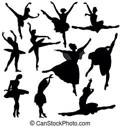 balerina, sylwetka, balet