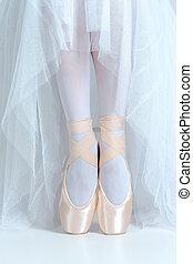 balerina, szczelnie-do góry, obuwie, młody, feet, pointe