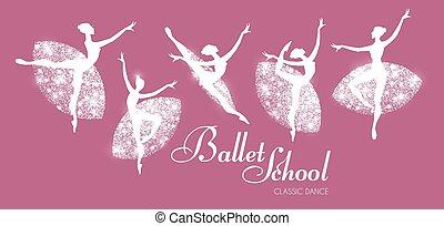balerina, taniec, set., klasyk, dance., sylwetka, girls.