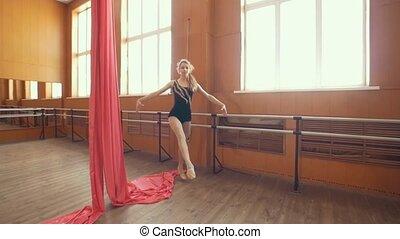 balerina, trening, studio, młody, łania