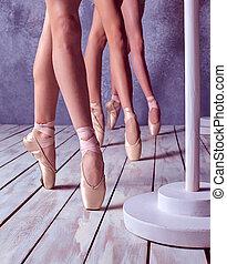 baleriny, pointe, feet, młody, obuwie