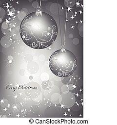 ball., wektor, srebro, tło, boże narodzenie