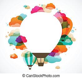 balloon, barwny, abstrakcyjny, powietrze, gorący, wektor, tło