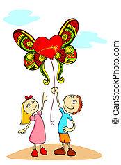 balloon, dzieciaki, miłość