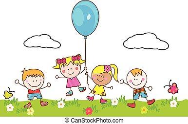balloon, dzieciaki, park, interpretacja, szczęśliwy