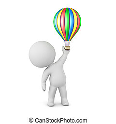balloon, litera, powietrze, gorący, mały, 3d