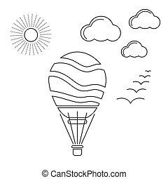 balloon, powietrze, linearny, ikona
