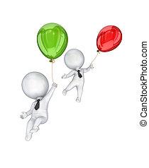 balloons., ludzie, mały, przelotny, 3d, powietrze