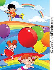 balloons., przelotny, dzieci