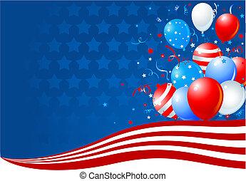 balony, amerykańska bandera, machać