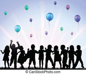balony, dzieci, szczęśliwy