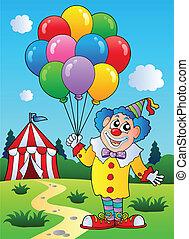 balony, klown, namiot