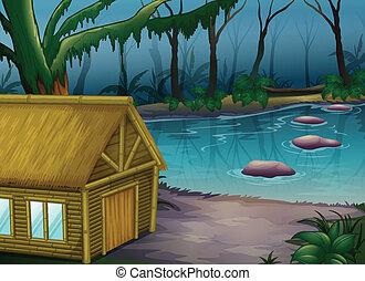 bambus, drewna, kabina