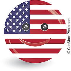 bandera, ameryka, zjednoczony, twarz, stan, uśmiechanie się, formułować